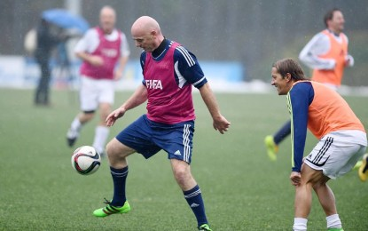 FIFA President Gianni Infantino plays football on first day on the job