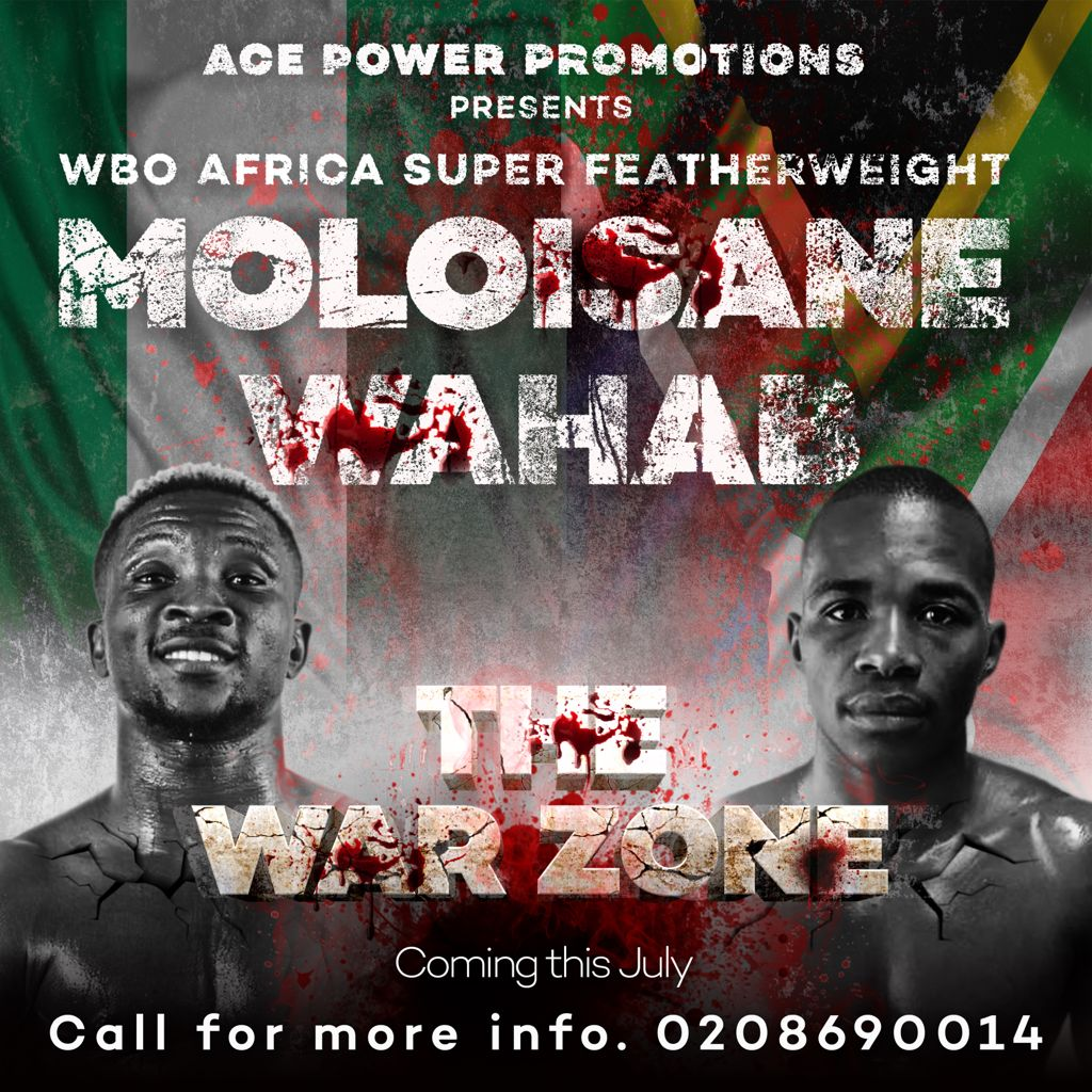 Wahab takes on Moloisane in headliner of 'War Zone' on 10 July in Accra